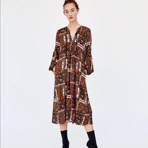 NWT Zara Bohemian Goddess Maxi Dress S